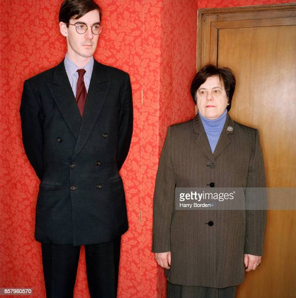 Conservative politician is photographed for Night and Day magazine with his nanny Veronica Crook on January 4 2000 in London England