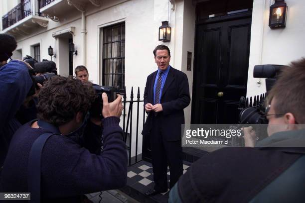 Conservative politician Michael Portillo talks to the media as he leaves his house in Victoria Square London 9th September 1999 He is standing in the...