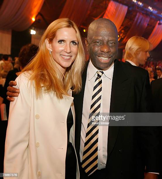 Conservative pundit Ann Coulter and comedian Jimmie Walker pose for photos before the 5th Annual TV Land Awards held at Barker Hangar on April 14...
