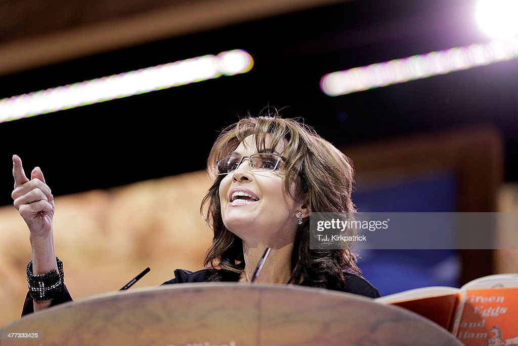 Conservative pundit, television personality and former vice presidential candidate <a gi-track='captionPersonalityLinkClicked' href=/galleries/search?phrase=Sarah+Palin&family=editorial&specificpeople=4170348 ng-click='$event.stopPropagation()'>Sarah Palin</a> speaks during the 41st annual Conservative Political Action Conference at the Gaylord International Hotel and Conference Center on March 8, 2014 in National Harbor, Maryland. The conference, a project of the American Conservative Union, brings together conservatives, polticians, pundits and voters for three days of speeches and workshops.