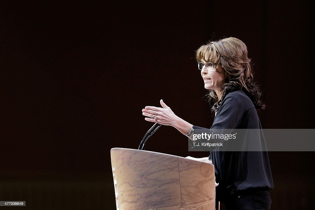 Conservative pundit, television personality and former vice presidential candidate <a gi-track='captionPersonalityLinkClicked' href=/galleries/search?phrase=Sarah+Palin&family=editorial&specificpeople=4170348 ng-click='$event.stopPropagation()'>Sarah Palin</a> speaks during the 41st annual Conservative Political Action Conference at the Gaylord International Hotel and Conference Center on March 8, 2014 in National Harbor, Maryland. The conference, a project of the American Conservative Union, brings together conservative polticians, pundits and voters for three days of speeches and workshops.