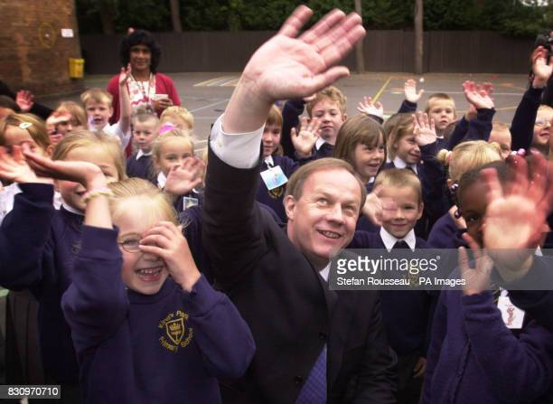 Conservative spokesman on Education Damian Green meets pupils at Kings Park Primary School in BournemouthHe will address the first day of their party...
