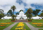 Entrance to San Francisco's Conservatory of Flowers, which is a beautiful Victorian greenhouse built in the 1870's.