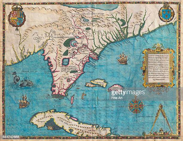 Considered the most important 16th century map of Florida and Cuba Titled 'Floridae Americae Provinciae Recens Exactissima Descriptio Auctore Iacobo...