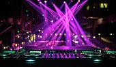 DJ console mixing desk at a night club