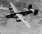 A Consolidated B24 Liberator an American heavy bomber widely used by the Allies during World War II circa 1941 The serial number is 02351