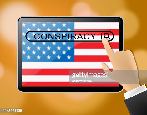 Conspiracy Theory Tablet Representing American Collusion With Russians 3d Illustration : Stock Photo