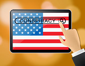 Conspiracy Theory Tablet Representing American Collusion With Russians 3d Illustration. Secret Meetings To Commit Treason Against The Usa