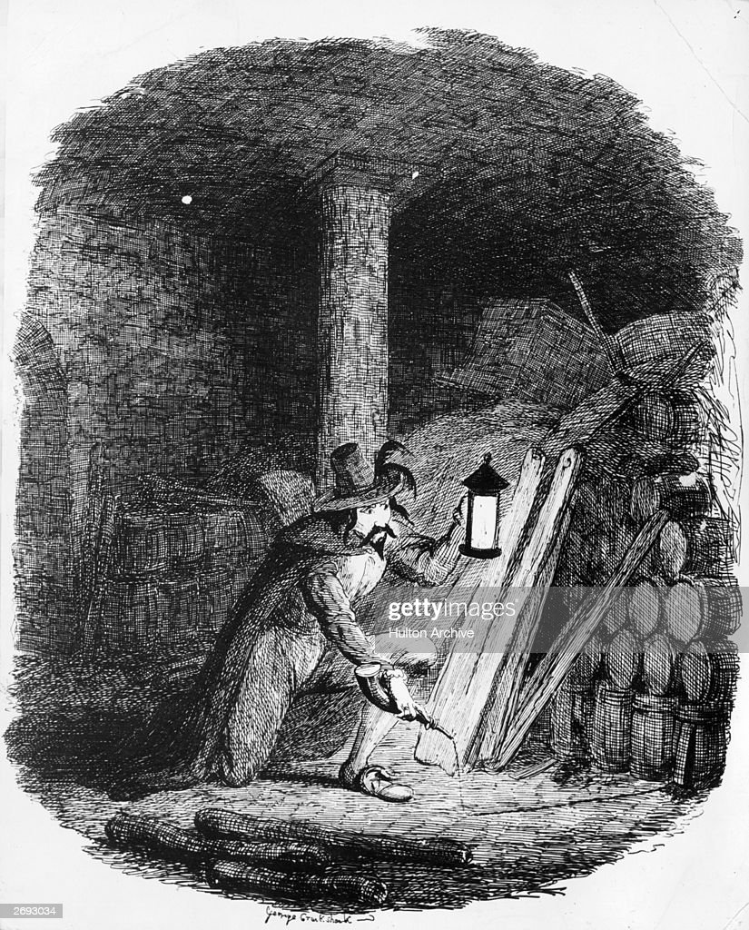 Conspirator Guy Fawkes (1570 - 1606) attempts to plant gunpowder in the cellar of the Palace of Westminster, 5th November 1605. Engraved by George Cruikshank.