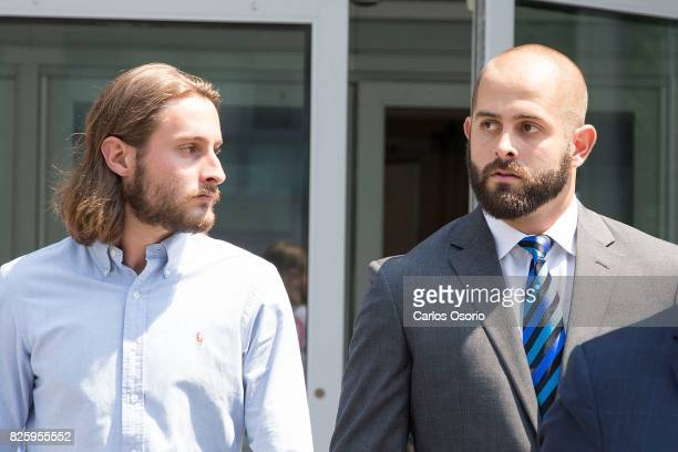 OSHAWA ON AUGUST 2 Const Michael Theriault and his brother Christian Theriault leave Durham Region Courthouse in Oshawa following and appearance in...
