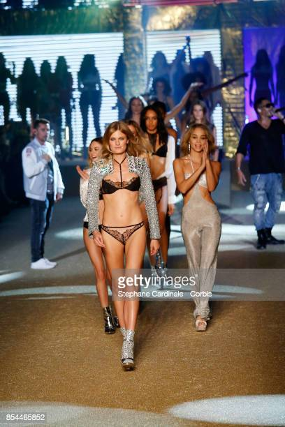 Constance Jablonski and Jasmine Sanders walk the runway during the Etam Spring Summer 2018 show as part of Paris Fashion Week at on September 26 2017...
