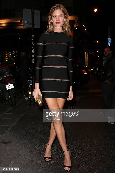 Constance Jablonski arrives at the Balmain After Show Party at 'Laperouse' restaurant as part of the Paris Fashion Week Womenswear Spring/Summer 2016...