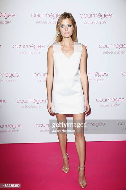 Constance Jablonski attends Courreges and Estee Lauder Dinner Party during Paris Fashion Week Womenswear Fall/Winter 2015/2016 on March 7 2015 in...