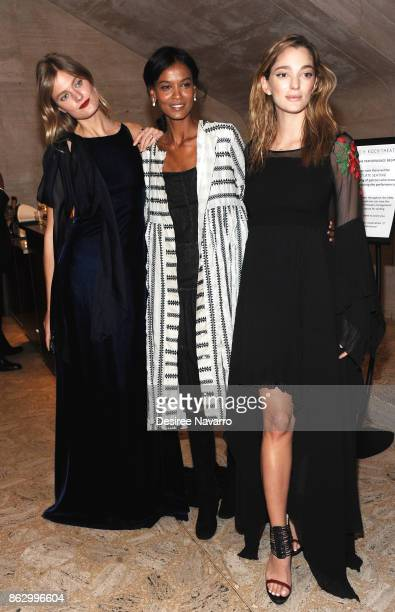 Constance Jablonski Liya Kebede and Sofia Sanchez de Betak attend 2017 American Ballet Theatre Fall Gala at David H Koch Theater at Lincoln Center on...