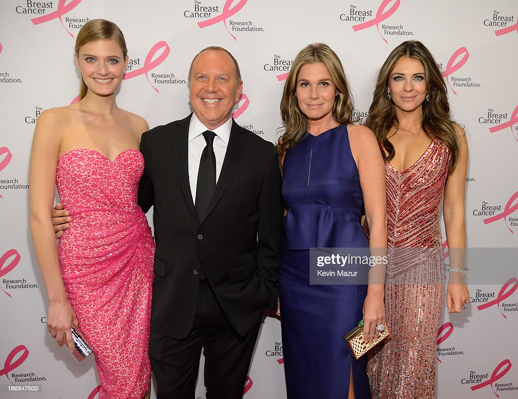 Constance Jablonski, Michael Kors, Aerin Lauder and Elizabeth Hurley attend the Breast Cancer Foundation's Hot Pink Party at the Waldorf Astoria Hotel on April 17, 2013 in New York City.