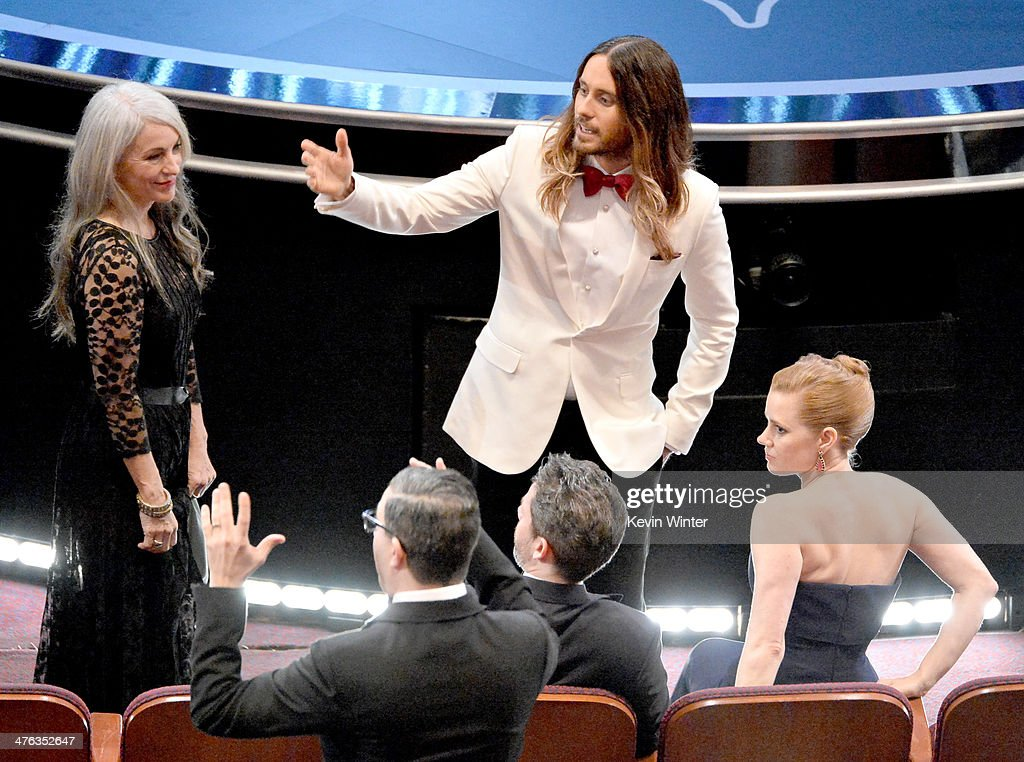 Constance Leto (L) actor <a gi-track='captionPersonalityLinkClicked' href=/galleries/search?phrase=Jared+Leto&family=editorial&specificpeople=214764 ng-click='$event.stopPropagation()'>Jared Leto</a> and actresss <a gi-track='captionPersonalityLinkClicked' href=/galleries/search?phrase=Amy+Adams&family=editorial&specificpeople=213938 ng-click='$event.stopPropagation()'>Amy Adams</a> attend the Oscars at the Dolby Theatre on March 2, 2014 in Hollywood, California.