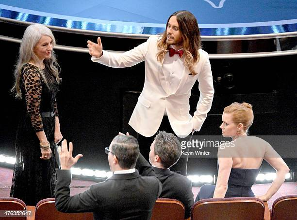 Constance Leto actor Jared Leto and actresss Amy Adams attend the Oscars at the Dolby Theatre on March 2 2014 in Hollywood California