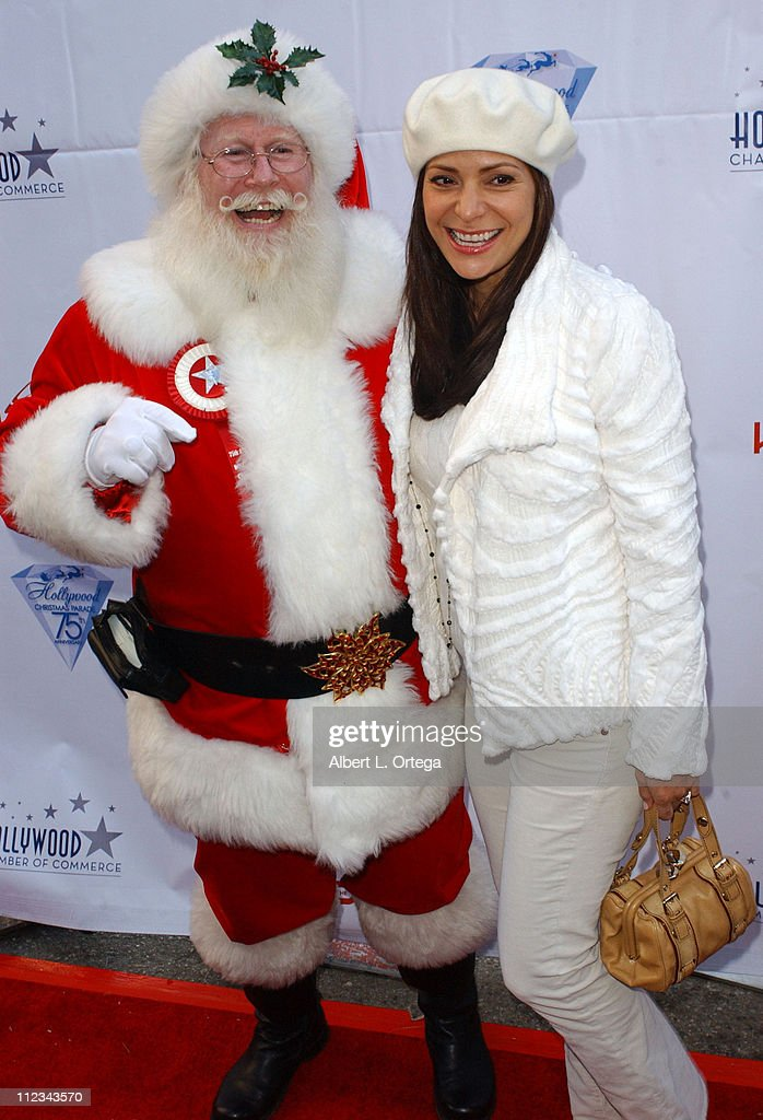 <a gi-track='captionPersonalityLinkClicked' href=/galleries/search?phrase=Constance+Marie&family=editorial&specificpeople=204646 ng-click='$event.stopPropagation()'>Constance Marie</a> with Santa Claus during The 75th Annual Hollywood Christmas Parade - Arrivals at The Hollywood Roosevelt Hotel in Hollywood, CA, United States.