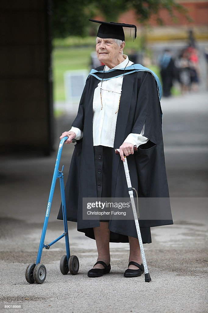 Constance Parr, aged 87, of Leeds, prepares to collect her degree in Quaker Studies at the University of Birmingham on July 14, 2009 in Birmingham, England. Over 5000 graduates will be donning their robes this week to collect their degrees from The University of Birmingham. A recent survey suggested that there are 48 graduates competing for every job.