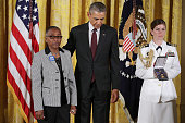 Constance Wilson accepts the he 20142015 Public Safety Office Medal of Valor from US President Barack Obama on behalf of her late grandson...