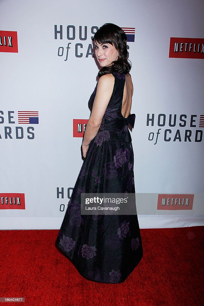 <a gi-track='captionPersonalityLinkClicked' href=/galleries/search?phrase=Constance+Zimmer&family=editorial&specificpeople=217359 ng-click='$event.stopPropagation()'>Constance Zimmer</a> attends the 'House Of Cards' premiere at Alice Tully Hall on January 30, 2013 in New York City.