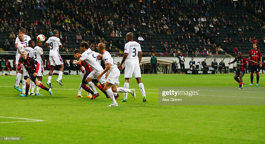 Constant Djakpa of Frankfurt scores his team's third goal with a freekick during the UEFA Europa League Group F match between Eintracht Frankfurt and...