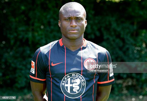Constant Djakpa poses during the Eintracht Frankfurt team presentation on July 15 2015 in Frankfurt am Main Germany