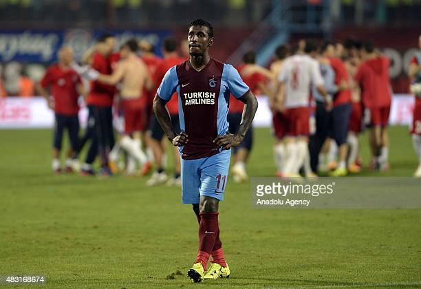 Constant of Trabzonspor reacts after the UEFA Europa League 3rd qualifying round second leg match between Trabzonspor and Rabotnicki at Huseyin Avni...