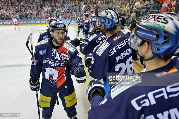 Constantin Braun of the Eisbaeren Berlin during the DEL game between the Eisbaeren Berlin and Duesseldorfer EG on January 22 2016 in Berlin Germany