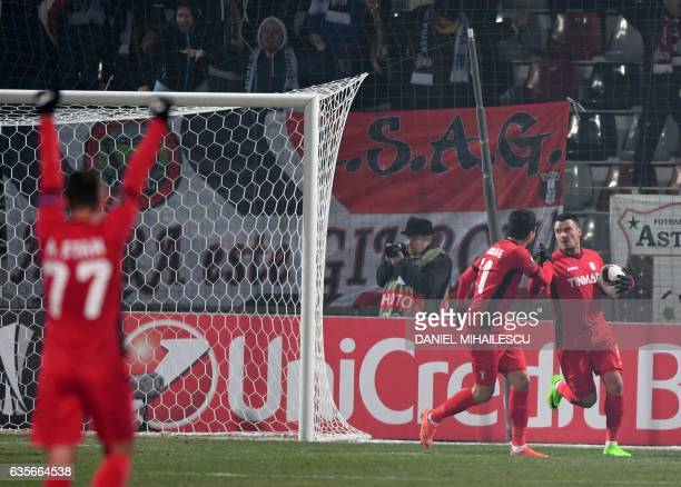 Constantin Budescu of Astra Giurgiu celebrates after he scored 11 during the UEFA Europa League round of 32 firstleg football match between FC Astra...
