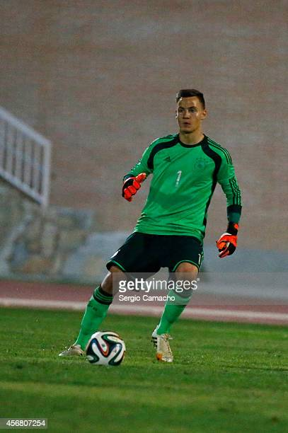Constantin Frommann of Germany controls the ball during the international friendly match between U17 Spain and U17 Germany at Campo Municipal de...
