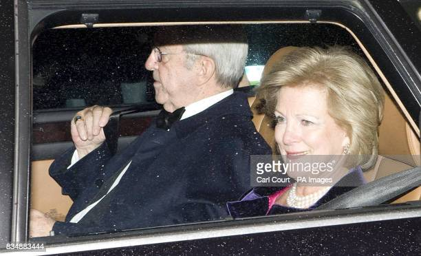 Constantine II and Queen AnneMarie of Greece arrive at Buckingham Palace in London to attend a private reception and concert as part of The Prince of...