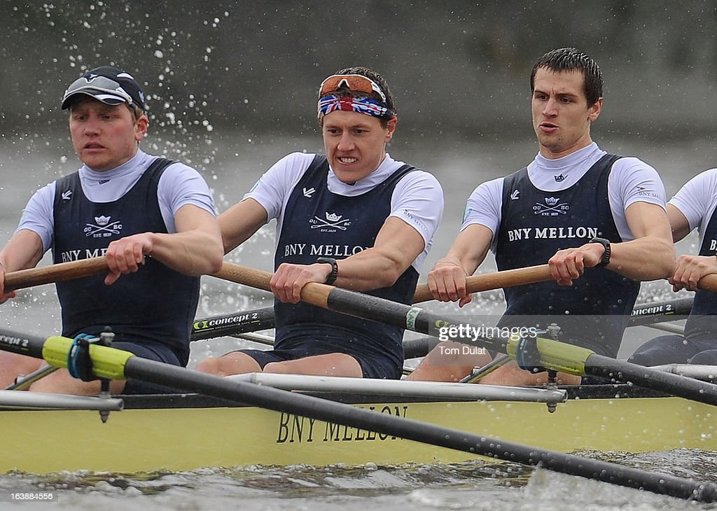 Constantine Louloudis, Karl Hudspith and Paul Bennett of The Oxford Blue Boat in action during the training race against German Eight on the River Thames on March 17, 2013 in London, England.