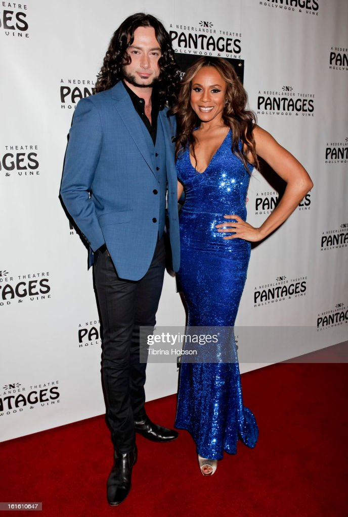 Constantine Maroulis and Deborah Cox attends the 'Jekyll & Hyde' Los Angeles play opening at the Pantages Theatre on February 12, 2013 in Hollywood, California.