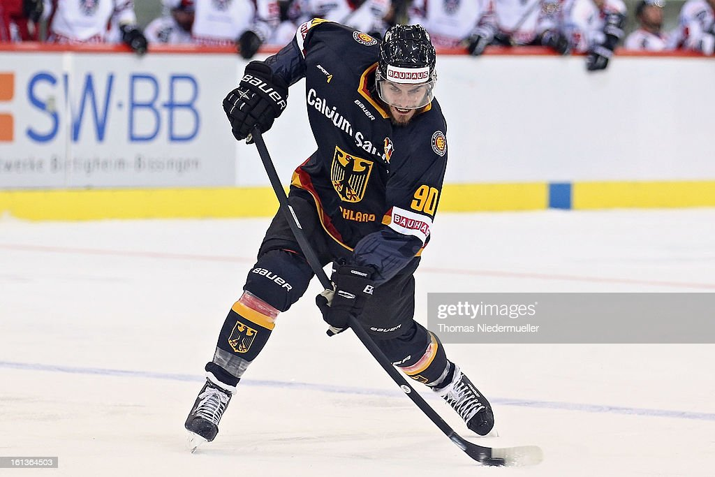 Constatin Braun of Germany in action during the Olympic Icehockey Qualifier match between Germany and Austria on February 10, 2013 in Bietigheim-Bissingen, Germany.