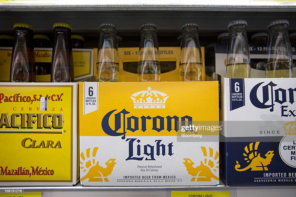 Constellation Brands Inc. Corona Extra and Pacifico beers are displayed for sale at a grocery store in New York, U.S., on Tuesday, Jan. 8, 2013. Constellation Brands Inc (STZ US) was rated new 'Buy' at ISI Group by equity analyst Robert Ottenstein. The 12-month target price is $43.00 per share. Photographer: Scott Eells/Bloomberg via Getty Images