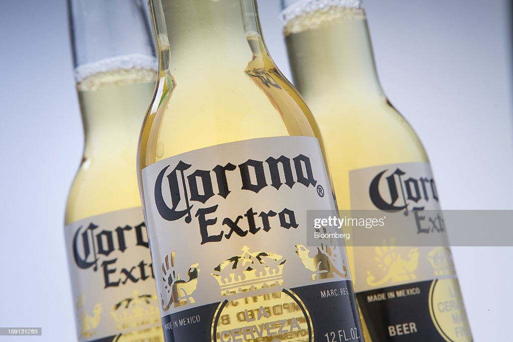 Constellation Brands Inc. Corona Extra beer is arranged for a photograph in New York, U.S., on Tuesday, Jan. 8, 2013. Constellation Brands Inc (STZ US) was rated new 'Buy' at ISI Group by equity analyst Robert Ottenstein. The 12-month target price is $43.00 per share. Photographer: Scott Eells/Bloomberg via Getty Images