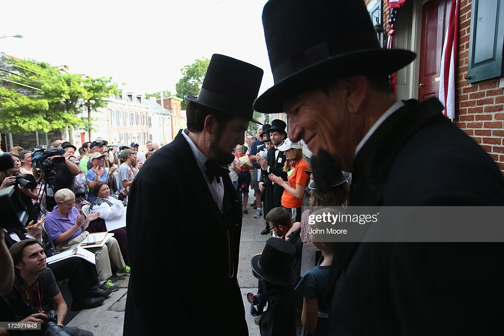 Constestants take part in an Abraham Lincoln look-alike contest on the 150th anniversary of the historic Battle of Gettysburg on July 3, 2013 in Gettysburg, Pennsylvania. The battle, which took place July 1-3, 1863, is widely considered the turning point in the American Civil War. Federal and Confederate armies suffered a combined total of 51,000 casualties over three days, the highest number of any battle in the four-year war. President Lincoln came 3 1/2 months later to give his Gettysburg Address.
