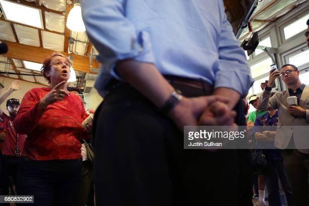 A constituent talks with US Rep Jeff Denham during a casual 'Coffee and Conversation' at the Riverbank Teen Center on May 9 2017 in Riverbank...