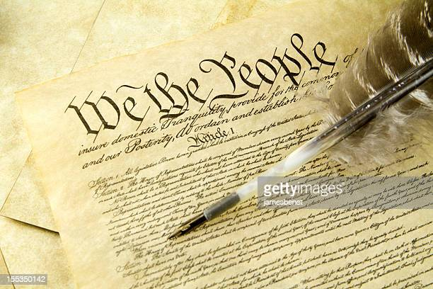 US Constitution With Quill Pen