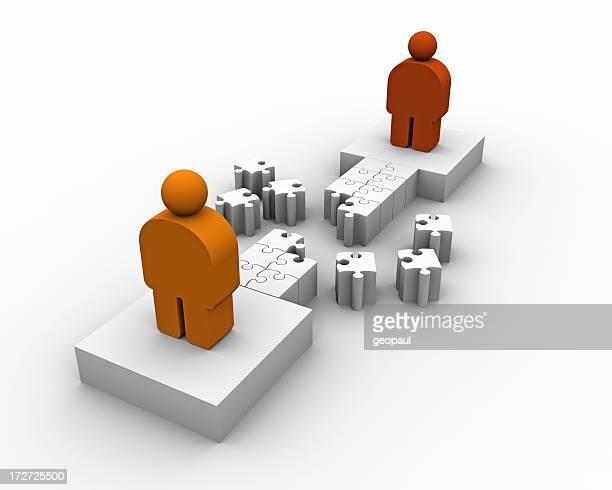 Constructing bridges between people concept