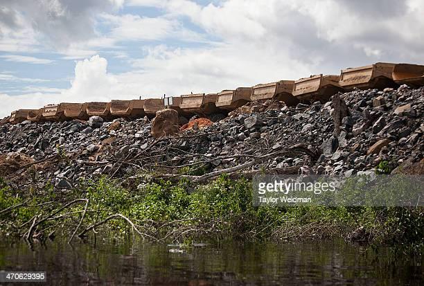Construction at the Belo Monte primary turbine site on the Xingu River near Altamira Brazil