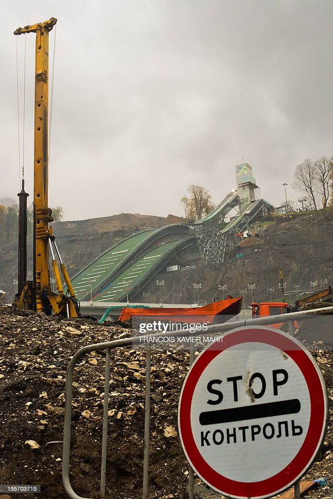 Construction at work on the Russki Gorki jumping centre, which will host the ski jumping and the Nordic combined events at the upcoming 2014 winter olympics in Rosa Khutor, part of the mountain cluster of installations some 50km from Sochi. MARIT