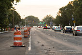 Construction barrels line the road on Clifton Boulevard in the west side of Cleveland Ohio on June 25 2014 Construction on Clifton Boulevard a major...