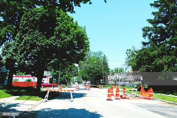 Construction Barriers On Street Road