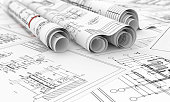 construction blueprints in roll isolated 3d illustration