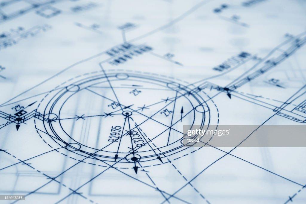 Construction Blueprint-Semi-Transparent Parchment Paper : Stock Photo