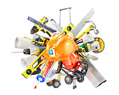 Construction concept. Construction tools around helmet isolated on a white. 3d illustration