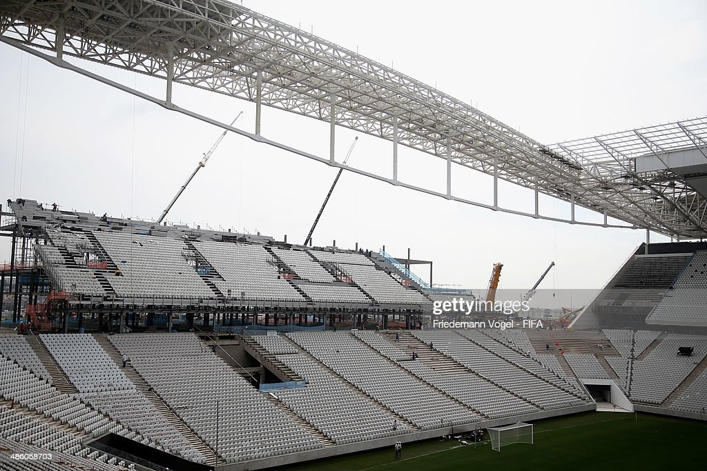 Construction continues at Arena Sao Paulo on April 22, 2014 in Sao Paulo, Brazil.
