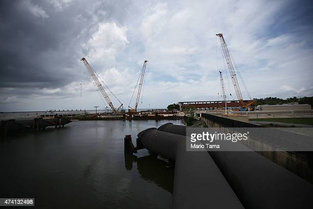 Construction continues at the 17th Street Canal pump station on May 18 2015 in New Orleans Louisiana The 17th Street Canal levee was breached during...